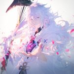 1boy black_shirt blue_eyes cherry_blossoms commentary fate/grand_order fate_(series) highres hood hood_down long_hair male_focus merlin_(fate/stay_night) messy_hair outstretched_hand petals rella robe shirt smile solo staff very_long_hair white_hair white_robe