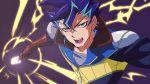 1boy blue_hair card chaya_mago earrings electricity gloves green_eyes jewelry male_focus multicolored_hair open_mouth piercing purple_hair shinji_weber solo teeth two-tone_hair yu-gi-oh! yuu-gi-ou_arc-v