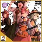 4girls ;) ^_^ animal_ears blouse blue_blouse bow braid brown_hair buttons cat_ears closed_eyes closed_mouth collared_shirt commentary cover cowboy_shot drum electric_guitar english extra_ears eyeball fake_cover green_hair green_skirt guitar hands_up hat hat_bow heart heart_of_string holding holding_microphone instrument kaenbyou_rin komeiji_koishi komeiji_satori light_smile long_hair long_sleeves looking_at_viewer medium_hair mefomefo microphone multiple_girls music no_wings one_eye_closed open_mouth phonograph pink_hair pink_skirt redhead reiuji_utsuho ribbon-trimmed_collar ribbon_trim shirt short_hair short_sleeves singing skirt skull smile spirit standing subterranean_animism third_eye touhou twin_braids v white_background white_shirt wide_sleeves yellow_blouse yellow_border yellow_bow