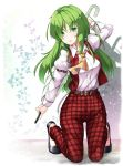 1girl aka_tawashi arm_up ascot belt black_footwear breasts commentary_request eyebrows_visible_through_hair green_eyes green_hair highres holding holding_umbrella juliet_sleeves kazami_yuuka kazami_yuuka_(pc-98) kneeling long_hair long_sleeves looking_at_viewer medium_breasts pants parted_lips plaid plaid_pants plaid_vest puffy_sleeves red_pants red_vest shirt solo touhou touhou_(pc-98) umbrella vest white_background white_shirt yellow_neckwear
