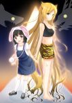 2girls :d absurdly_long_hair absurdres animal_ears animal_print bangs bare_arms bare_shoulders black_footwear black_hair black_tank_top blonde_hair blunt_bangs breasts closed_mouth collarbone crop_top dragon eastern_dragon eyebrows_visible_through_hair glowing glowing_eyes highres inahori kneehighs long_hair looking_at_viewer looking_to_the_side multiple_girls open_mouth original overall_skirt print_shorts puffy_short_sleeves puffy_sleeves rabbit_ears scratches shark shirt shoes short_shorts short_sleeves shorts small_breasts smile sneakers standing tank_top tiger_print upper_teeth very_long_hair violet_eyes white_legwear white_shirt yellow_eyes