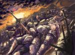 1girl after_battle armor battlefield belt blood blood_from_mouth blood_on_face blurry breastplate clouds cloudy_sky corpse death defeat depth_of_field dutch_angle faulds gauntlets greaves hand_on_another's_face helm helmet impaled knight looking_at_another looking_to_the_side lying mountain on_back on_ground original outdoors planted_weapon red_eyes shzsntma silver_hair sky solo_focus spaulders sunset sword weapon