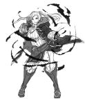 1girl breasts cape female_my_unit_(fire_emblem:_kakusei) fire_emblem fire_emblem:_kakusei fire_emblem_heroes gloves kamu_(kamuuei) long_hair looking_at_viewer monochrome my_unit_(fire_emblem:_kakusei) red_eyes simple_background smile solo twintails white_background