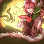 1girl ;d alcohol background_text bandage bandaged_arm commentary cup dragon eastern_dragon english flower green_skirt ibaraki_kasen koutei_(touhou) leaf mefomefo one_eye_closed open_mouth pink_hair red_eyes red_flower red_rose rose sakazuki sake shirt short_hair skirt smile solo tabard teeth tongue touhou white_shirt wild_and_horned_hermit