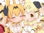 3girls ^_^ animal_ears black_gloves blonde_hair blush bow bowtie brown_eyes cat_ears cat_tail cheek-to-cheek closed_eyes commentary elbow_gloves extra_ears eyebrows_visible_through_hair female_pov gloves hands_on_another's_head heart highres kaban_(kemono_friends) kemono_friends looking_at_viewer makuran multiple_girls one_eye_closed petting pov print_gloves print_neckwear sand_cat_(kemono_friends) sand_cat_print serval_(kemono_friends) serval_ears serval_print serval_tail shirt short_sleeves simple_background sleeveless sleeveless_shirt smile tail upper_body white_background