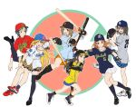 6+girls :d adjusting_eyewear animal_print asics bangs baseball baseball_bat baseball_cap baseball_glove baseball_jersey batting_stance black_footwear black_hair black_hat black_legwear blue_bow blue_hair blue_hat blue_legwear blue_shirt blue_skirt blush bow bracelet breasts brown_eyes brown_hair chunichi_dragons cleats cleavage earrings elbow_pads frown fujimoto_rina full_body glasses gloves grey_shirt hair_bow hanshin_tigers hat hat_bow highres hiroshima_touyou_carp holding_baseball_bat houjou_karen idolmaster idolmaster_cinderella_girls jewelry kamijou_haruna kneehighs left-handed leopard_print long_hair looking_at_viewer mimura_kanako multiple_girls nail_polish navy_blue_legwear navy_blue_shirt necklace nigou nippon_professional_baseball one_eye_closed open_mouth orange_footwear orange_gloves orange_hair orange_skirt over-rim_eyewear pink-framed_eyewear pink_nails pinstripe_pattern pitching plaid plaid_skirt platform_footwear pleated_skirt raglan_sleeves red_footwear red_shirt semi-rimless_eyewear shin_guards shirt shoes short_hair short_sleeves shorts sidelocks skirt smile sneakers socks standing standing_on_one_leg striped swept_bangs swinging tachibana_arisu thigh-highs tokyo_yakult_swallows v violet_eyes wakui_rumi white_footwear white_shorts white_skirt yellow_shirt yokohama_dena_baystars yomiuri_giants zettai_ryouiki