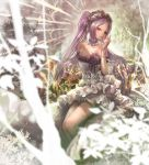 1girl bare_shoulders bracelet branch commentary_request dress fate/grand_order fate/hollow_ataraxia fate_(series) grass hairband highres jewelry kaburagi_yasutaka leaf lolita_hairband long_hair looking_at_viewer purple_hair sitting solo stheno strapless strapless_dress twintails violet_eyes white_dress
