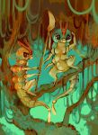 brown_eyes caterpie glitchedpuppet highres holding holding_spear holding_weapon insect multiple_arms nature no_humans outstretched_arm plant pokemon pokemon_(game) pokemon_rgby polearm serious signature sitting spear standing tree tree_branch vines weapon