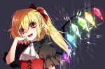 1girl alternate_costume blonde_hair blue_background bow brooch commentary_request cravat eyebrows_visible_through_hair fang flandre_scarlet frilled_shirt_collar frills hair_between_eyes hair_bow head_tilt jewelry juliet_sleeves kuronohana long_sleeves looking_at_viewer no_hat no_headwear open_mouth pointy_ears puffy_sleeves red_bow red_eyes red_vest shiny side_ponytail simple_background smile solo touhou upper_body vest white_neckwear wings