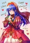 1girl blue_eyes blue_hair blush dress fire_emblem fire_emblem:_fuuin_no_tsurugi fire_emblem_heroes gloves hat jewelry lilina long_hair looking_at_viewer mintes simple_background smile solo translation_request