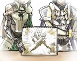 2boys armor bedivere blonde_hair fate/grand_order fate/stay_night fate_(series) head_out_of_frame hellshake_yano lancelot_(fate/grand_order) look-alike male_focus multiple_boys parody poptepipic simple_background sketchbook tristan_(fate/grand_order) white_background