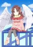 1girl angel_wings black_ribbon blue_sky boots bow brown_eyes brown_hair capelet clouds coat commentary_request earmuffs eyebrows_visible_through_hair eyes_visible_through_hair feathered_wings full_body grey_legwear hair_ribbon knees_together_feet_apart long_hair looking_at_viewer low_twintails mittens original pantyhose pink_coat plaid plaid_skirt pleated_skirt red_bow red_capelet red_mittens red_skirt ribbon scarf sitting skirt sky smile solo takahiko twintails white_wings wings yellow_scarf
