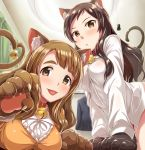 2girls animal_ears bell blush breasts brown_eyes brown_hair cat_ears cat_tail commentary_request dan_(orange_train) eyebrows_visible_through_hair idolmaster idolmaster_million_live! idolmaster_million_live!_theater_days kemonomimi_mode kitazawa_shiho long_hair long_sleeves looking_at_viewer medium_breasts miyao_miya multiple_girls paw_pose smile tail tongue tongue_out