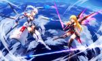 2girls bare_shoulders blonde_hair blue_eyes breasts cleavage closed_mouth clouds covered_navel elbow_gloves fingerless_gloves gloves hammer_and_sickle leotard long_hair looking_at_another luo_qingyu mecha_musume medium_breasts multiple_girls original red_eyes sword thigh-highs weapon white_hair
