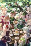 6+girls :d animal_ears apron arm_strap bandage black_dress black_gloves blonde_hair blue_eyes blue_hair bow brown_hair brown_shorts cake closed_eyes clover_print collarbone crown day dress drill_hair eating eyebrows_visible_through_hair fingerless_gloves flower food frilled_apron frills gloves gothic_lolita green_apron green_bow green_eyes green_hair green_hat green_ribbon hair_bow hair_flower hair_ornament hair_ribbon hairband hat highres holding jacket leaning_forward lolita_fashion lolita_hairband long_hair looking_at_viewer looking_back mini_crown mini_hat multiple_girls neck_ribbon open_mouth original outdoors pointy_ears rabbit_ears red_eyes red_flower red_hairband red_ribbon ribbon shirt short_hair short_sleeves shorts silver_hair sitting sleeveless sleeveless_shirt smile standing tongue tongue_out very_long_hair white_gloves white_jacket white_shirt white_wings wings yumeichigo_alice