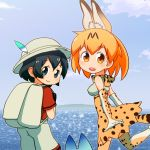 2girls :d animal_ears backpack bag black_gloves black_hair blue_eyes clouds commentary_request elbow_gloves extra_ears gloves hat hat_feather high-waist_skirt highres kaban_(kemono_friends) kemono_friends looking_at_viewer lucky_beast_(kemono_friends) multiple_girls ocean open_mouth orange_eyes orange_hair print_gloves print_legwear print_skirt red_shirt sat-c serval_(kemono_friends) serval_ears serval_print serval_tail shirt short_hair shorts skirt smile tail thigh-highs white_hat white_shorts