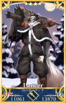 1boy black_capelet black_hat black_pants black_santa_costume black_shirt boots brown_footwear capelet card_(medium) card_parody christmas_lights christmas_ornaments christmas_tree cross-laced_footwear eiri_(eirri) fate/grand_order fate_(series) full_moon fur-trimmed_capelet fur-trimmed_hat fur_trim gauntlets glowing glowing_eyes hat holding holding_sack horns king_hassan_(fate/grand_order) lace-up_boots looking_at_viewer male_focus moon outdoors pants puffy_pants sack santa_costume santa_hat servant_card_(fate/grand_order) shirt skull snow solo standing star torn_capelet torn_clothes torn_shirt