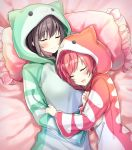 2girls blush brown_hair character_request chunithm closed_eyes closed_mouth cona_kinaco frilled_pillow frills highres hooded_pajamas long_sleeves lying multiple_girls on_back on_side open_mouth pillow pink_pillow redhead sleeping