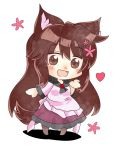 1girl animal_ears blush brooch brown_eyes brown_hair chibi commentary_request dress eyebrows_visible_through_hair flower full_body hair_flower hair_ornament heart imaizumi_kagerou jewelry layered_dress long_sleeves open_mouth petticoat ruto5102 shadow solo standing tail touhou white_background wolf_ears wolf_tail