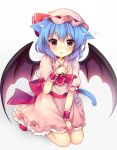 1girl animal_ears ascot bat_wings bell bell_collar between_legs blue_hair blush brooch cat_day cat_ears cat_tail collar commentary_request dress dress_tug eyebrows_visible_through_hair frilled_dress frilled_shirt_collar frills hand_between_legs hand_on_own_chest hat hat_ribbon highres jewelry kemonomimi_mode looking_at_viewer mob_cap parted_lips paw_pose pink_dress puffy_short_sleeves puffy_sleeves red_eyes red_footwear red_neckwear red_ribbon red_sash remilia_scarlet ribbon ruhika seiza shoes short_hair short_sleeves simple_background sitting solo tail touhou wariza white_background wings wrist_cuffs