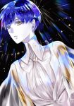 androgynous blue_eyes blue_hair golden_arms heterochromia houseki_no_kuni looking_at_viewer necktie phosphophyllite phosphophyllite_(ll) see-through short_hair solo spoilers yellow_eyes
