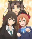 3girls banboro_(technobot) commentary_request crossover fate/stay_night fate_(series) hair_ribbon hoshizora_rin idolmaster idolmaster_cinderella_girls love_live! love_live!_school_idol_project multiple_girls namesake orange_hair ribbon shibuya_rin short_hair tohsaka_rin yellow_eyes