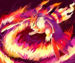 blue_eyes claws fire full_body glitchedpuppet highres looking_away looking_down no_humans pokemon pokemon_(creature) pokemon_(game) pokemon_bw reshiram solo