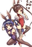 2girls :d ahoge alice360 animal_ears azur_lane bangs bare_shoulders black_legwear breasts brown_eyes brown_hair cleavage cleavage_cutout eyebrows_visible_through_hair fighting_stance fur-trimmed_jacket fur_trim hair_rings hairband hairpods highres jacket leotard long_hair long_sleeves looking_at_viewer medium_breasts multiple_girls ning_hai_(azur_lane) off_shoulder open_mouth panda pantyhose parted_lips ping_hai_(azur_lane) puffy_long_sleeves puffy_sleeves purple_footwear purple_hair purple_leotard rabbit_ears red_leotard shoes simple_background small_breasts smile standing standing_on_one_leg stirrup_legwear thigh-highs twintails v-shaped_eyebrows very_long_hair violet_eyes white_background white_hairband white_jacket