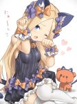 1girl ;o abigail_williams_(fate/grand_order) animal_ears bangs black_bow black_dress blonde_hair blue_eyes blush bow breasts cat_day cat_ears cat_tail dress fang fate_(series) frilled_dress frills hair_bow heart kemonomimi_mode lavinia_whateley_(fate/grand_order) long_hair looking_at_viewer one_eye_closed open_mouth orange_bow parted_bangs paw_pose polka_dot polka_dot_bow simple_background sleeveless sleeveless_dress small_breasts solo stuffed_animal stuffed_toy tail tail_bow teddy_bear thigh-highs very_long_hair white_background wrist_cuffs yyo zettai_ryouiki