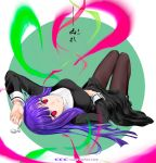 1girl asagami_fujino bent_spoon black_legwear circle_name from_behind hand_on_own_stomach kara_no_kyoukai lying magic on_back pantyhose purple_hair red_eyes shirotsumekusa spoon