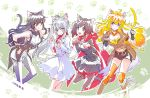 4girls animal_ears black_hair blake_belladonna blonde_hair blue_eyes blush breasts cat_ears cat_tail cleavage commentary grey_eyes iesupa multiple_girls paw_pose paw_print redhead ruby_rose rwby scar scar_across_eye smile tail violet_eyes weiss_schnee white_hair yang_xiao_long yellow_eyes