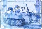 2girls backpack bag black_hair blonde_hair blush camera chito_(shoujo_shuumatsu_ryokou) coat commentary_request driving drum_(container) eyebrows_visible_through_hair fur_trim ground_vehicle gun helmet kettenkrad looking_back military military_uniform military_vehicle monochrome motor_vehicle multiple_girls open_mouth pipes railing rifle sakino_shingetsu short_hair shoujo_shuumatsu_ryokou smile snow snowing stahlhelm tank uniform wall weapon yuuri_(shoujo_shuumatsu_ryokou)