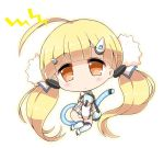 1girl ahoge azur_lane bangs bare_shoulders black_footwear blonde_hair blush brown_eyes chibi closed_mouth commentary_request detached_sleeves dress eldridge_(azur_lane) eyebrows_visible_through_hair full_body hair_ornament head_tilt lightning_bolt long_hair long_sleeves looking_at_viewer noai_nioshi sleeveless sleeveless_dress solo tail thigh-highs twintails very_long_hair white_background white_dress white_legwear