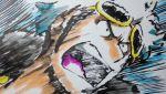 1boy action eyewear_on_head guzma_(pokemon) highres iwane_masaaki jacket male_focus marker_(medium) motion_lines multicolored_hair open_mouth pokemon pokemon_(game) pokemon_sm portrait solo speed_lines sunglasses team_skull traditional_media white_hair