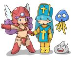 2girls :d :o armor bangs bikini_armor blue_eyes blue_hair blue_hat blunt_bangs blush bodysuit boots breasts cleavage collarbone creature cross curly_hair dragon_quest dragon_quest_iii elbow_gloves eyebrows eyebrows_visible_through_hair gloves groin hagure_metal hair_over_eyes hand_holding hat helmet hoimi_slime index_finger_raised kuto_tubuyaki legs_apart legs_together long_hair looking_at_another midriff multiple_girls navel no_nose open_mouth orange_bodysuit pauldrons pointing priest_(dq3) purple_hair red_armor red_footwear red_gloves red_helmet shadow slime_(dragon_quest) small_breasts smile soldier_(dq3) standing stomach tabard white_wings winged_helmet wings yellow_footwear yellow_gloves