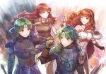 2boys 2girls alm_(fire_emblem) armor breastplate cape celica_(fire_emblem) commentary_request dual_persona fire_emblem fire_emblem_echoes:_mou_hitori_no_eiyuuou fire_emblem_gaiden gauntlets green_hair hairband headband highres holding holding_sword holding_weapon long_hair multiple_boys multiple_girls pauldrons redhead smile sword tiara weapon yukimiyuki
