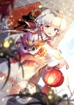 1girl azur_lane blue_eyes clouds commentary_request flower hair_flower hair_ornament highres holding_lantern illustrious_(azur_lane) lantern long_hair paper_lantern sky solo thigh-highs thighs white_hair yetworldview_kaze zettai_ryouiki