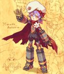 belt beret cape flower hana_(xenoblade) hat low_twintails orange_eyes puffy_shorts purple_hair ribbon robot romaji shorts tora_(xenoblade) twintails waving xenoblade_2