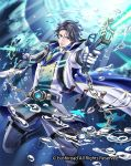 1boy black_hair blue_eyes boots bubble cape cardfight!!_vanguard chain fish gun haru_(toyst) male_focus marine_general_of_twin_bullets_cretas military military_uniform official_art solo teeth underwater uniform weapon