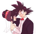 1boy 1girl :o artist_name bangs bare_shoulders black_eyes black_hair bridal_veil chi-chi_(dragon_ball) couple dragon_ball dragonball_z dress elbow_gloves eyebrows_visible_through_hair flower formal gloves happy hetero long_sleeves looking_at_another miiko_(drops7) necktie open_mouth shirt short_hair simple_background sleeveless smile son_gokuu spiky_hair suit tied_hair twitter_username veil wedding_dress white_background white_shirt