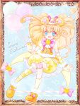 1girl :d animal_ears balloon bear_ears blonde_hair bloomers blue_background blue_eyes bow brooch character_name cure_mofurun hat jewelry kneehighs long_hair looking_at_viewer magical_girl mahou_girls_precure! mini_hat mini_witch_hat mofurun_(mahou_girls_precure!) nene_(oneoneo13) open_mouth orange_footwear personification pink_bow precure shoes single_kneehigh smile solo star star_in_eye striped striped_legwear symbol_in_eye underwear witch_hat yellow_bloomers yellow_hat yellow_legwear