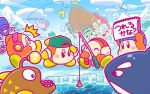acro_(kirby) anglerfish backwards_hat barbar_(kirby) baseball_cap beanie blipper blue_hat blue_sky blush_stickers bow bowtie bucket clouds commentary_request eel fish fishing fishing_rod glunk_(kirby) goggles green_hat hat headphones ice ice_fishing jitome kirby_(series) nintendo no_humans notepad orca red_neckwear sitting sky spilling squibby surprised sweet_stuff waddle_dee