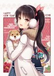 1girl 2018 :3 :d animal bag bag_charm black_eyes blue_skirt blush brown_gloves brown_hair character_request charm_(object) coat collar dog dog_collar earmuffs eyebrows_visible_through_hair floral_background fur-trimmed_coat fur_trim gloves hair_ribbon hitsuki_rei holding holding_animal hood hood_down hooded_coat long_hair long_sleeves looking_at_viewer looking_to_the_side new_year open_mouth orange_eyes pink_ribbon plaid plaid_skirt ribbon shiny shiny_hair side_ponytail skirt smile snowdreams_-lost_in_winter- thermos upper_body white_coat