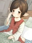 1girl alternate_hair_length alternate_hairstyle arulumaya bangs barefoot bed bed_sheet blanket blush brown_eyes brown_hair collarbone commentary_request crying crying_with_eyes_open door dutch_angle granblue_fantasy harbin long_sleeves mole mole_under_eye on_bed parted_lips pointy_ears short_hair sitting solo swept_bangs tears walkalone white_pillow