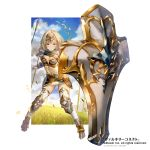 1girl armor armored_boots artist_name blonde_hair boots breasts cleavage company_name full_body genjin gloves grass green_eyes headband midriff official_art polearm shield simple_background sky solo spear valkyrie_connect weapon white_background