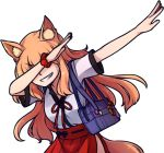 1girl animal_ears armband bag blonde_hair breasts closed_eyes dab_(dance) fate/extra_ccc_fox_tail fate/grand_order fate_(series) fox_ears fox_girl fox_tail japanese_clothes long_hair pleated_skirt red_ribbon red_skirt ribbon school_bag school_uniform shirt short_sleeves skirt small_breasts smirk smug speckticuls suzuka_gozen_(fate) tail transparent_background white_shirt