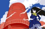 1girl black_hair blue_shirt blue_sky clouds frown grey_eyes guard_rail hair_between_eyes hand_on_hip keisan ladder long_hair long_sleeves looking_to_the_side original pants scarf shaded_face shirt sky water_tower yellow_scarf