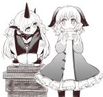 2girls animal_ears baozi bent_knees between_legs commentary_request curly_hair dog_ears dress eating eye_contact food geta greyscale hand_between_legs holding holding_food horn jacket kasodani_kyouko komano_aun long_hair long_sleeves looking_at_another medium_hair monochrome multiple_girls nibi oekaki shorts squatting standing touhou white_background