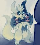 bow bowtie claws clothed_pokemon full_body glitchedpuppet happy highres no_humans partially_colored pokemon pokemon_(creature) pokemon_(game) pokemon_rse smile solo standing teeth zangoose