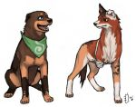 amputee animalization bandage bleach brother_and_sister closed_mouth collar dog emlan lowres neckerchief open_mouth shiba_ganju shiba_kuukaku siblings signature simple_background sitting standing white_background